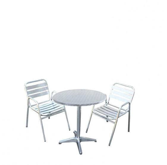 Location table ronde 60 cm aluminium pour stand ou foire à Grenoble